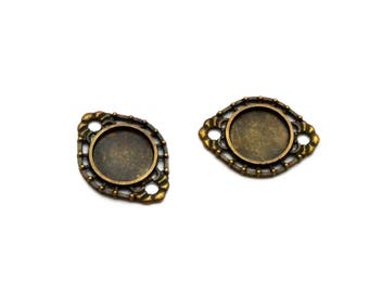 Set of 2 connectors tray 14 mm cabochon