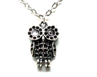 Little OWL necklace white rhinestones