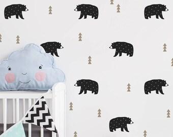 Bear Wall Decals - Nursery Decals, Woodland Decals, Tree Wall Decals, Forest Decals, Removable Wall Stickers