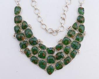 REDUCED Sterling 925 and millefiori glass bib necklace W62