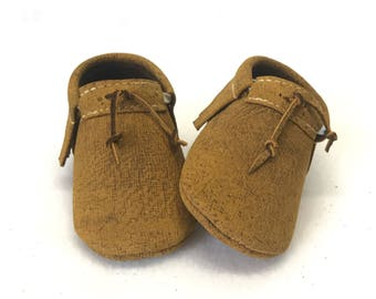 Dijon mustard suede finish Leather Baby Moccasins Shoes with Headband or Bow Tie