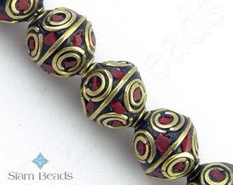 8 BEADS - Nepalese Artisan Handmade Coral Inlaid Brass Bicone Bead 12mm NBA166