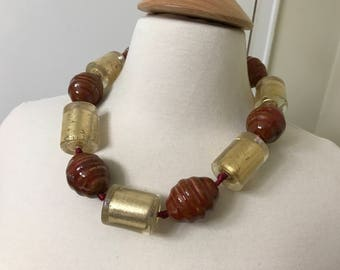 Stunning Couture Lucite Gold Leaf & Brown Beads Modernist Necklace