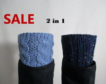 Sale READY TO SHIP/Womens Boot Cuffs Leg Warmers Navy Blue T114