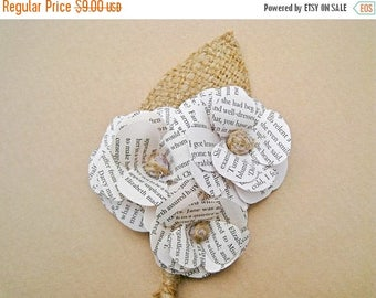SALE Rustic Boutonniere, Wedding Boutonniere, Paper Flower Boutonniere, Men's Rustic Pin, Book Paper Boutonniere, Country Wedding, Rustic We