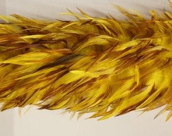 """2 yards SADDLE BOA Yellow 4-6"""" Feathers"""