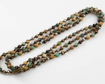 Marvin With Toggle- Long Knotted Necklace- Assorted Gemstone -Perfect for Layering- 35 inches- Matt African Turquiose 4MM