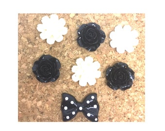 Black and White  Resin Flower + Bow Push Pins or Magnets Your Choice x 7, Cubicle Push Pin, Dorm Room Thumb Tack, Gift Under 10