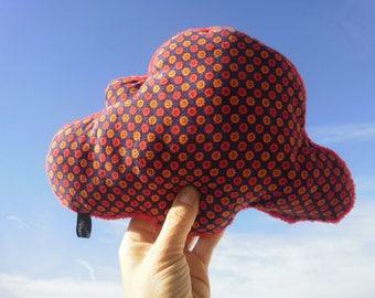 "Cloud pillow ""Apolline"", velour and fleece, red, orange and Navy tones"
