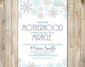 SNOWFLAKES ADOPTION Party Invitation, Blue Silver Snowflake Baby Boy Adoption Shower Invite, Worth the Wait, Winter Adoption, Missing Piece