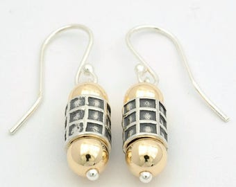 Checkered Drop Earrings - Silver and Gold Drop Earrings - Block Drop Earrings - Silver and Gold Earrings - Dangle Earrings