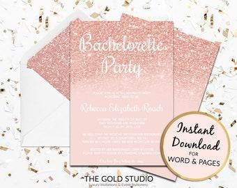 bachelorette party invitation rose gold bachelorette invite instant download blush pink glitter - Bachelorette Party Invitation Templates