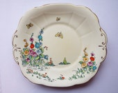 Vintage Sandwich Plate Or Large Cake Plate, Crown Staffordshire. Hand Painted Hollyhock Flowers Plate or Serving Platter For A Tea Party