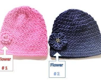 Back Front Crochet Beanie with 2 diferent Flower styles for Girls
