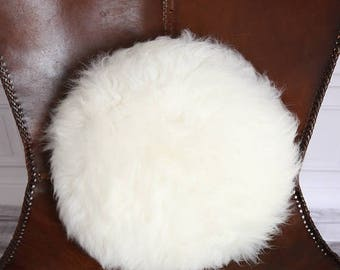 ON SALE Beautiful Natural Creamy White Round Real Sheepskin Decorative Cushion | Both Side Fur Scandinavian Style