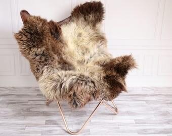 Double Sheepskin Rug | Square Sheepskin | Shaggy Rug | Chair Cover | Beige Rug | Carpet | Brown Sheepskin