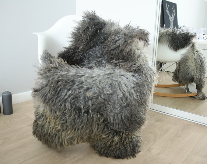 Genuine Rare Gotland Sheepskin Rug - Curly Fur Rug - Natural Sheepskin - Gray Sheepskin #FEBGOT27