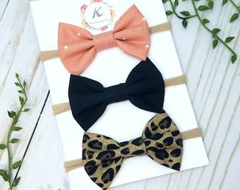 Baby girl headbands  - set of 3 - nylon headbands - pink bow headband - cheetah bow headband - black bow headband - baby headbands