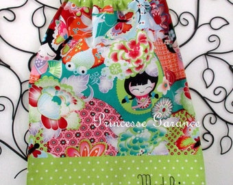 Home nursery * napkin canteen with elastic at the neck - cotton Japanese and green polka dot - to order