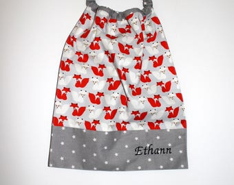 Birthday, canteen * bib/napkin, canteen, with elastic at the neck - cotton little Fox to order