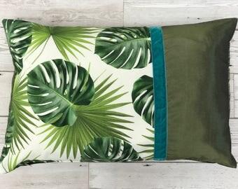 Luxury 'Urban Jungle' velvet-trimmed Emerald Green Cushion Pillow