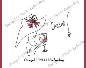 Wine Cheers 5x7 and 4x4 Unique Urban Machine Embroidery Design digital File
