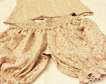 Pyjamas set women's bloomers + matching top vintage floral print fabric pink cotton gift for her birthday Victorian Edwardian design 1920s