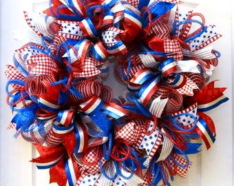 Patriotic Wreath, 4th of July Wreath, Patriotic Decor, July 4 Wreath, wreaths for front door, red white blue wreath, Summer deco Mesh wreath