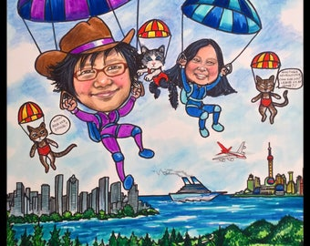Custom caricature, retirement gift, retirement for women, retirement for men, skydiving caricature,  retirement caricature, wedding gift