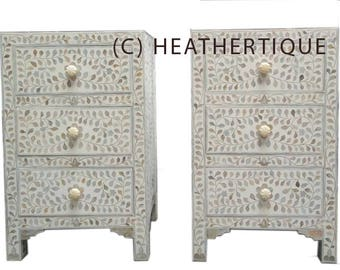 Bone Inlay Furniture   White / Neutral Boho Chic 2 Nightstands | Coastal  Decor| Side