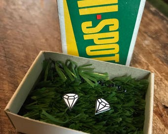 Tiny diamond earrings, shrink plastic earrings, handmade, hand-drawn, small studs, shrinky dink, cute, gift, plastic diamonds, silver-plated