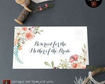 Wedding Place Card, floral card template, printable escort card, Seating card, Table card template, Rustic place card, PDF template