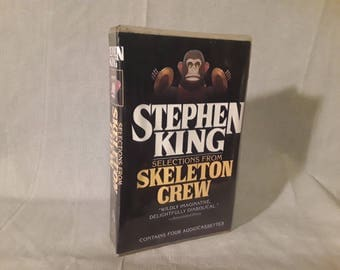 Stephen King Cassette Set, Skeleton Crew Audiobook Collection, 4 Tapes Book On Tape, Monkey With Cymbals Cover, 1994