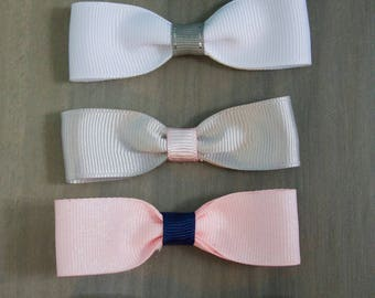 Set of 5 Coordinating Mini Tuxedo Bow Tie 3 Inch Wide Hair Bows on Ribbon Covered Alligator Clips