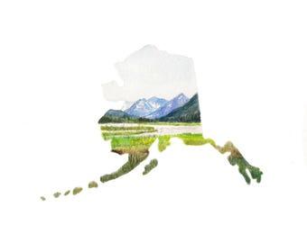 Alaska Painting, Alaska Landscape, Custom Painting, Military Gift, Alaska State PRINT, Alaska State Map, Alaska State, Alaska Watercolor