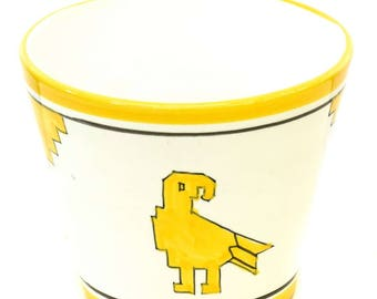 Vintage Joseph Magnin Yellow White Bird Planter Flower Pot - FREE SHIPPING