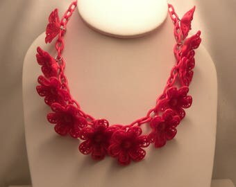 Vintage Red Celluloid Plastic Flower Necklace