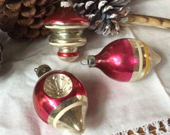 Vintage Mercury Glass Ornaments Indented Tear Drop Antique Christmas Tree Ornament Vintage Christmas Decor