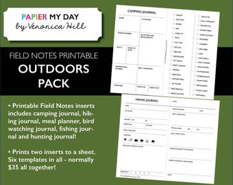 Printable Outdoors Pack for Field Notes and Pocket Travelers Notebooks - 6 templates!