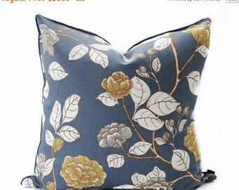 Sale Floral linen pillow cover - Charcoal pillow - Asian pillow - Dark Gray pillow - Gray linen pillow - Gold Floral pillow - Decorative pil
