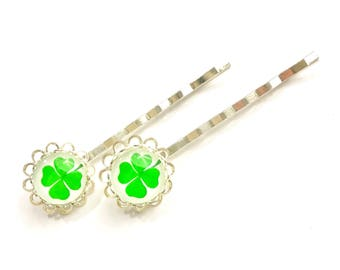 Four Leaf Clover Bobby Pins - St Patricks Day Bobby Pins - Lucky Bobby Pins - Green Bobby Pins - Gifts For Her - Gifts Under 5