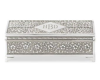 Antique Style Silver Plated Jewellery Box Available for Personalisation, Wedding Gift, Anniversary, Birthday, Retirement