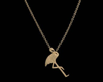 Necklace gold minimalist with Flamingo Pink flamingo