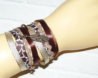 Cuff Bracelet doubles tour Brown/leopard/gold and feather charm
