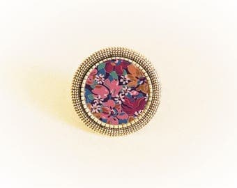 Ring silver liberty rose flower cabochon and adjustable purple and mustard