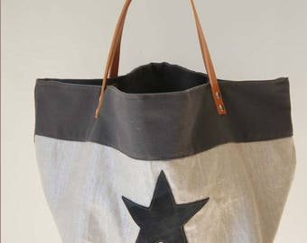 Designer canvas tote bag stars black/beige leather handles