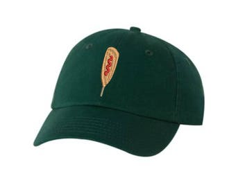 CornDog Embroidered Hat Unisex. Food Lover Corndog Embroidered Hat Baseball Cap.  Adjustable With Tri-Glide Buckle. 36 Colors VC300A