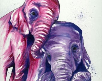 Pink & Purple Baby Elephants Print | Original Elephant Art by Aidan Weichard | Fine Art Print | African Animal Art | Nursery Wall Art |