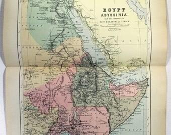 Vintage Somalia Map Etsy - Vintage map of egypt