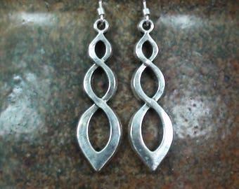 Silver Vortex Spiral Unisex Dangle Earrings .925 Sterling Ear Wire